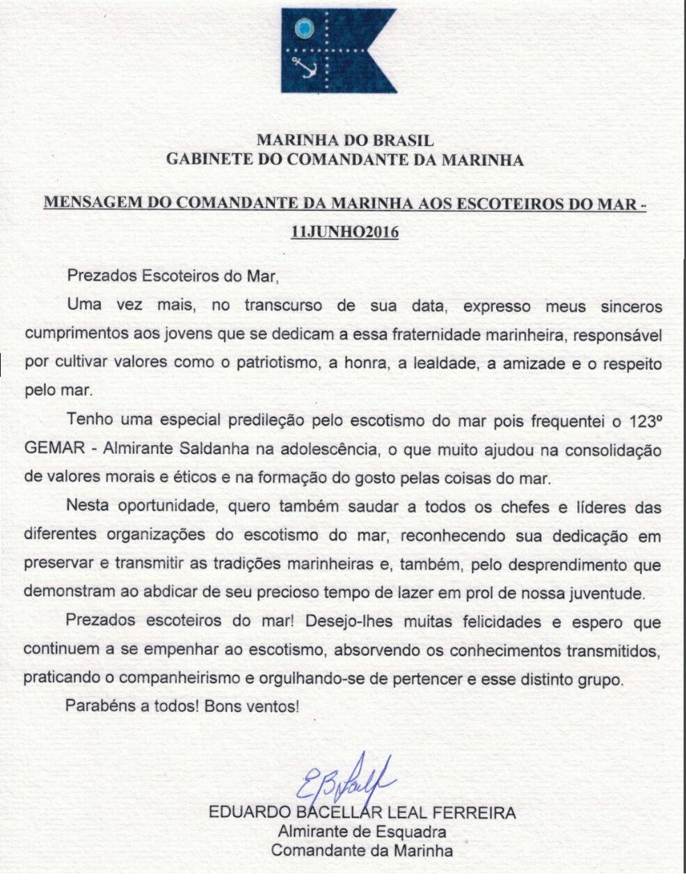 Carta do Comandante da Marinha do Brasil