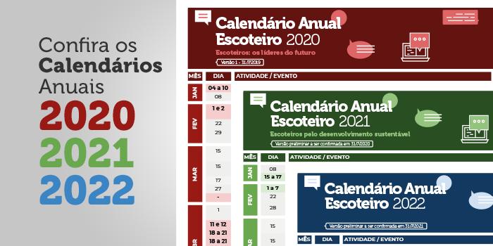 Calendario De 2020 Brasil.Escoteiros Do Brasil Divulgam Calendarios Anuais Dos